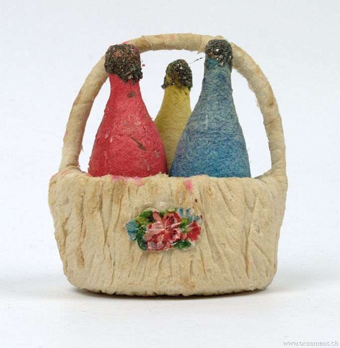 Basket with Handle and Three Bottles