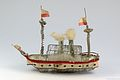 Two Mast Steamboat with Double Chimney